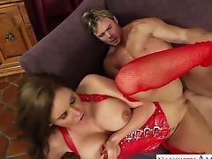 Lewd Mummy In Crimson Corset And Ripped Crimson Pantyhose Phoenix Marie Pleases Her Man