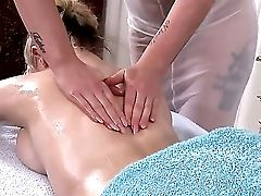 Two Buxom Adult Movie Stars Brookie G.  And Paige Aka Ruby Rubber In The Titty Rubdown Scene