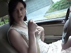 Pretty Brown-haired Masturbates In The Car During Driving