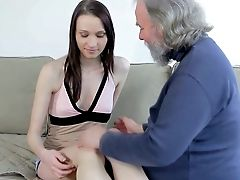 Lovely Doll Alina Lets An Old Boy With Grey Facial Hair Touch Her Hard Titties