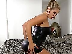 Attractive Lengthy Haired Beauty Eva Parcker With Steaming Hot Figure And Rough Make Up In Taut Black Sundress Gets Nasty And Taunts With Her Brillian