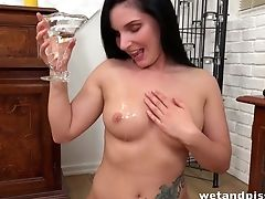 Lengthy Dark Haired Fairly Buxom Pissing Queen Lucia Denvile Masturbates
