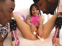 Asian Saya: Interracial Double Penetration & Creampies