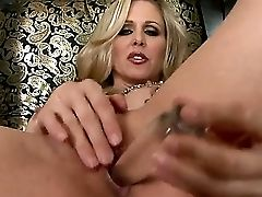 The Gorgeous Cougar Adult Movie Star Julia Ann Penetrates Her Sweet Bald Fuckbox With A Glass Fake Penis