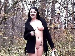 Attractive Black Haired Youthful Looking Promiscuous Female Adrianne Black With Amssive Tastey Hooters And Hot Bod Gets Horny And Starts Grinding Her