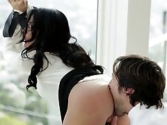 Naugty Black-haired Attempts A Tasty Dick At The Office