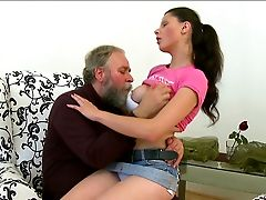 Skanky Euro Stunner With Saggy Tits Is Getting Her Snatch Polished By Old Fart