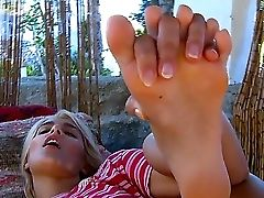 An Adorable Blonde Lies Back In Her Jungle Utopia, Strips Naked Showcasing Her Ample Bod And, Most Importantly Of All: Those Exquisite Feet And Toes.