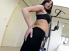 Beautiful Nubile Damsel Kendra Fervor Is Being Filmed On Camera By The Perverted Boy Kevin Moore In The Middle Of The Gym, While This Gal Is Working O