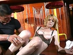 Saucy Blonde Granny Bj's On A Thick Member And Gets Fucked