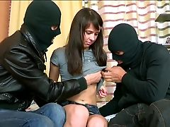 Dark Haired Milky Gal Dina Wanna Suck Two Strong Dicks Of Masked Pals