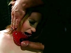 Tied Up Pallid Dark Haired Sweetheart Gets Totally Nude And Gets