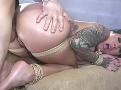 Obedient Tattooed Hooker Lily Lane Gets Her Puss And Mouth Fucked