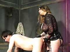 Domineering Maitresse Madeline Marlowe Has A Belt Cock To Fuck Dude's Asshole Hard