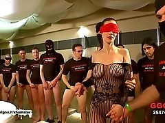 German Goo Damsels - Eyes Covered Cougar Mass Ejaculation Group Sex