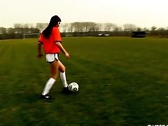 Soccer Chick Sits On A Ball On The Field And Masturbates