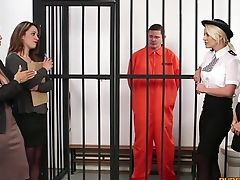 Flick Of A Naked Dude Getting Pleasured By Madlin Moon And Cops