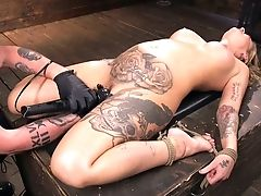 Tattooed Porno Model Kleio Valentien Gets Penalized In The Dark Domination & Submission Room