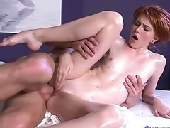 Skinny Sandy-haired Female Gets Massaged And Fucked On The Couch. Hd
