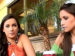 Two Elegant Honeys Celeste Starlet And Dana Vespoli With Beautiful Eyes Talking In The Cafe