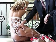 Supah Hot Blondie Jessie Strips Showcasing Her Fat Round Tasty Bootie Before Providing A Spicy Bj