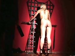 Astonishing Manacled And Legcuffed Beauty Is Ready To Use A Glass Faux-cock