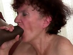 Perverted Granny Loves Gulping Big Black Penis Before Rough Fuck