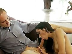 Step Dad Taunts And Tempts Youthfull Beauty Brown-haired Tia Cyrus Into Having Hookup
