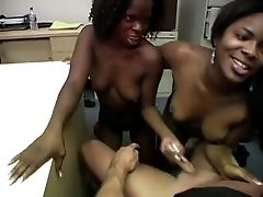 Two Bitchy Chocolate Ladies Anabelle And Trinity Share Milky Dick For Bj